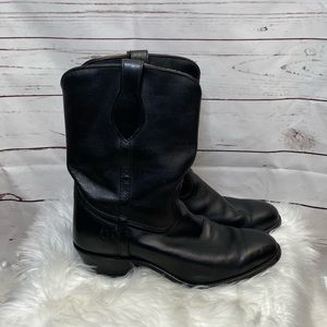 FRYE Black Leather Pull On Boots
